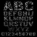 Σύνολο σπασμένου άσπρου αλφάβητου πλαισίων διανυσματική απεικόνιση
