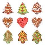 Σύνολο σπιτικών μπισκότων μελοψωμάτων που απομονώνεται πέρα από το λευκό Καρδιά, χριστουγεννιάτικο δέντρο, κουδούνι στοκ φωτογραφία