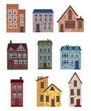 Σύνολο σπιτιών κινούμενων σχεδίων Συλλογή των τυποποιημένων σπιτιών Αρχιτεκτονικές κατασκευές Διανυσματική απεικόνιση μιας πόλης  Στοκ εικόνα με δικαίωμα ελεύθερης χρήσης