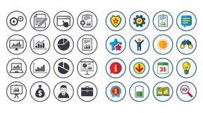 Σύνολο στατιστικών, εικονιδίων λογιστικής και εκθέσεων Στοκ εικόνα με δικαίωμα ελεύθερης χρήσης