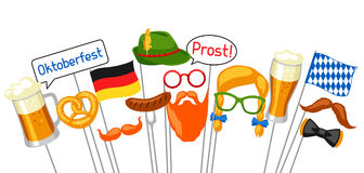 Σύνολο στηριγμάτων θαλάμων φωτογραφιών Oktoberfest Εξαρτήματα για το φεστιβάλ και το κόμμα διανυσματική απεικόνιση