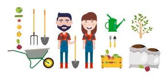 Σύνολο στοιχείου αγροτών Ο άνδρας με ένα φτυάρι και η γυναίκα, wheelbarrow, πότισμα μπορούν, να τοποθετήσουν σε σάκκο με τη γη Δι απεικόνιση αποθεμάτων