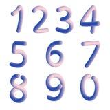 Σύνολο στοιχείων δέκα αριθμών μορφής μηδέν έως εννέα, σχέδιο αριθμού απεικόνιση αποθεμάτων