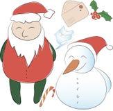 Σύνολο στοιχείων για το νέο ντεκόρ έτους ή Χριστουγέννων claus santa Στοκ Φωτογραφίες