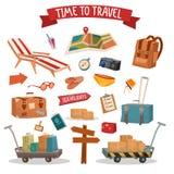 Σύνολο στοιχείων καλοκαιριού διακοπών με τις αποσκευές ελεύθερη απεικόνιση δικαιώματος