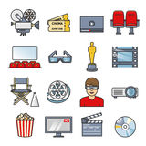 Σύνολο στοιχείων κινηματογράφων Συλλογή εικονιδίων κινηματογράφων Επίπεδη διανυσματική απεικόνιση περιλήψεων Στοκ φωτογραφίες με δικαίωμα ελεύθερης χρήσης