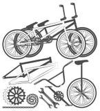 Σύνολο στοιχείων ποδηλάτων, μέρη ποδηλάτων, ρόδα, αλυσίδα, unicycle Στοκ Εικόνες