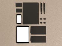 Σύνολο στοιχείων προτύπων στον ξύλινο πίνακα Επιχειρησιακό πρότυπο προτύπων Στοκ φωτογραφίες με δικαίωμα ελεύθερης χρήσης