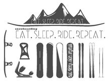 Σύνολο στοιχείων σνόουμπορντ και να κάνει σκι Στοκ Εικόνες