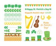 Σύνολο στοιχείων σχεδίου ημέρας Αγίου Patricks επίσης corel σύρετε το διάνυσμα απεικόνισης Διανυσματική απεικόνιση