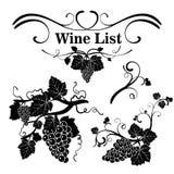 Σύνολο στοιχείων σχεδίου με τα σταφύλια και την άμπελο Η κάρτα κρασιού διανυσματική απεικόνιση