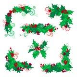 Σύνολο στοιχείων σχεδίου μούρων ελαιόπρινου Χριστουγέννων Στοκ Εικόνες