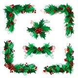 Σύνολο στοιχείων σχεδίου μούρων ελαιόπρινου Χριστουγέννων Στοκ φωτογραφίες με δικαίωμα ελεύθερης χρήσης