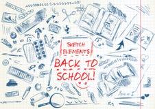 Σύνολο στοιχείων σχολικών συρμένων χέρι σκίτσων Στοκ Φωτογραφίες