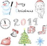 Σύνολο στοιχείων Χριστουγέννων για το σχέδιο Στοκ Εικόνα