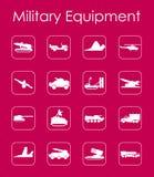 Σύνολο στρατιωτικών απλών εικονιδίων εξοπλισμού Στοκ Εικόνες