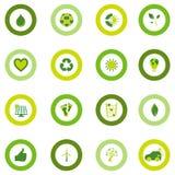 Σύνολο στρογγυλών εικονιδίων που γεμίζουν με τα βιο περιβαλλοντικά σύμβολα eco Στοκ Εικόνες