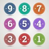 Σύνολο στρογγυλών εμβλημάτων με τους αριθμούς ελεύθερη απεικόνιση δικαιώματος