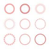Σύνολο στρογγυλών και κυκλικών διακοσμητικών σχεδίων για τα πλαίσια και τα εμβλήματα σχεδίου Κόκκινος Στοκ Φωτογραφίες