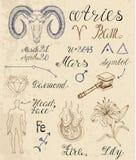 Σύνολο συμβόλων για zodiac το σημάδι Aries ή τον κριό Απεικόνιση αποθεμάτων