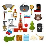 Σύνολο συμβόλων της Ρωσίας Ρωσικός εθνικός χαρακτήρας Κράτος παραδοσιακό απεικόνιση αποθεμάτων