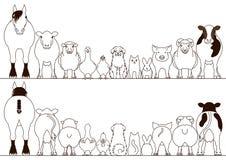 Σύνολο συνόρων ζώων αγροκτημάτων, μπροστινή άποψη και οπισθοσκόπος απεικόνιση αποθεμάτων