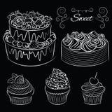 Σύνολο συρμένα χέρι κέικ και muffin Στοκ φωτογραφίες με δικαίωμα ελεύθερης χρήσης