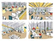 Σύνολο συρμένο χέρι Σύγχρονο εσωτερικό γραφείων, ανοιχτός χώρος χώρος εργασίας με τους υπολογιστές, τα lap-top, το φωτισμό και τη διανυσματική απεικόνιση
