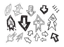 Σύνολο συρμένων βελών χαρακτήρα διασκέδασης χέρι Ελεύθερη απεικόνιση δικαιώματος