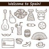 Σύνολο συρμένων κινούμενα σχέδια εικονιδίων στο θέμα της Ισπανίας: σημαία Στοκ Εικόνα