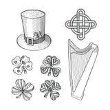 Σύνολο συρμένων στοιχείων σχεδίου ημέρας Αγίου Patricks χέρι Διανυσματική απεικόνιση