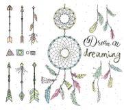 Σύνολο συρμένων φτερών, catcher ονείρου, χάντρες, γεωμετρικά στοιχεία, Στοκ εικόνες με δικαίωμα ελεύθερης χρήσης