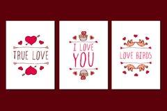 Σύνολο συρμένων χέρι ευχετήριων καρτών ημέρας βαλεντίνων Αγίου Στοκ Εικόνες