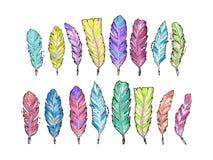 Σύνολο συρμένων χέρι φτερών watercolor σκίτσων Στοκ φωτογραφίες με δικαίωμα ελεύθερης χρήσης