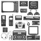 Σύνολο συσκευής των μονοχρωματικών εικονιδίων της δεκαετίας του '90, στοιχεία σχεδίου που απομονώνονται στο άσπρο υπόβαθρο Στοκ Φωτογραφίες