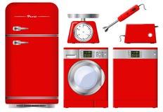Σύνολο συσκευών κουζινών στο κόκκινο Ρεαλιστικό διάνυσμα Στοκ Εικόνες