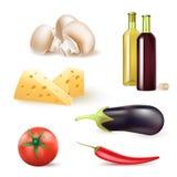 Σύνολο συστατικών λαχανικών και τροφίμων και μπουκαλιών κρασιού Στοκ Φωτογραφίες