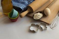 Σύνολο συστατικών που χρησιμοποιούνται για το ψήσιμο Στοκ Εικόνες