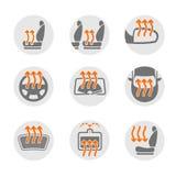 Σύνολο συστημάτων θέρμανσης αυτοκινήτων διανυσματική απεικόνιση