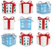 Σύνολο συλλογής κιβωτίων δώρων Χριστουγέννων δώρων που απομονώνεται Στοκ Φωτογραφίες