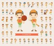 Σύνολο συλλογής χαρακτήρα αγοριών διανυσματική απεικόνιση