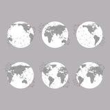 Σύνολο σφαιρών, διανυσματική απεικόνιση παγκόσμιων χαρτών, Στοκ Εικόνες