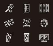 Σύνολο σχετικών με την αντισφαίριση εικονιδίων Στοκ εικόνα με δικαίωμα ελεύθερης χρήσης