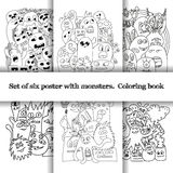 Σύνολο σχεδίου έξι με τα τέρατα doodle ελεύθερη απεικόνιση δικαιώματος
