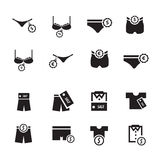 Σύνολο σχεδίου εικονιδίων εσώρουχων Στοκ φωτογραφίες με δικαίωμα ελεύθερης χρήσης