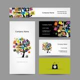 Σύνολο σχεδίου επαγγελματικών καρτών, δέντρο αγορών με Στοκ εικόνα με δικαίωμα ελεύθερης χρήσης