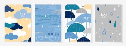Σύνολο σχεδίου 4 ευτυχούς βροχερού καλύψεων ημέρας Χαριτωμένη αφίσα στην κρητιδογραφία Στοκ Εικόνες