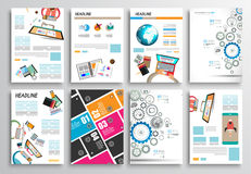 Σύνολο σχεδίου ιπτάμενων, πρότυπα Ιστού Σχέδια φυλλάδιων, υπόβαθρα Infographics Στοκ Φωτογραφίες