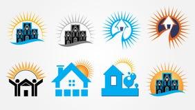 Σύνολο σχεδίου λογότυπων ακίνητων περιουσιών ανατολής Στοκ Εικόνες