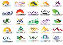 Σύνολο σχεδίου λογότυπων ακίνητων περιουσιών στοκ εικόνα με δικαίωμα ελεύθερης χρήσης